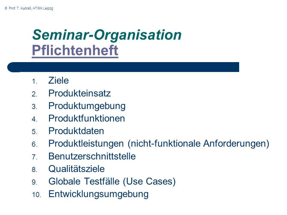 © Prof. T. Kudraß, HTWK Leipzig Seminar-Organisation Pflichtenheft Pflichtenheft 1. Ziele 2. Produkteinsatz 3. Produktumgebung 4. Produktfunktionen 5.