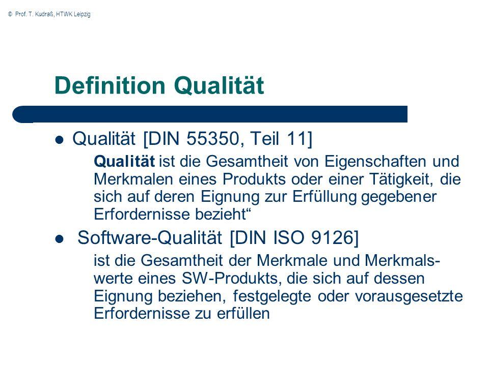 © Prof. T. Kudraß, HTWK Leipzig Definition Qualität Qualität [DIN 55350, Teil 11] Qualität ist die Gesamtheit von Eigenschaften und Merkmalen eines Pr