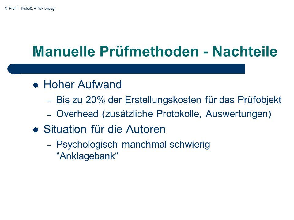 © Prof. T. Kudraß, HTWK Leipzig Manuelle Prüfmethoden - Nachteile Hoher Aufwand – Bis zu 20% der Erstellungskosten für das Prüfobjekt – Overhead (zusä