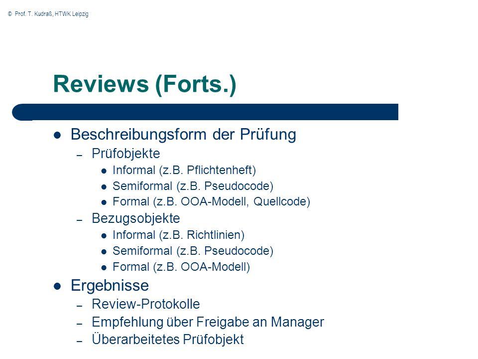 © Prof. T. Kudraß, HTWK Leipzig Reviews (Forts.) Beschreibungsform der Prüfung – Prüfobjekte Informal (z.B. Pflichtenheft) Semiformal (z.B. Pseudocode