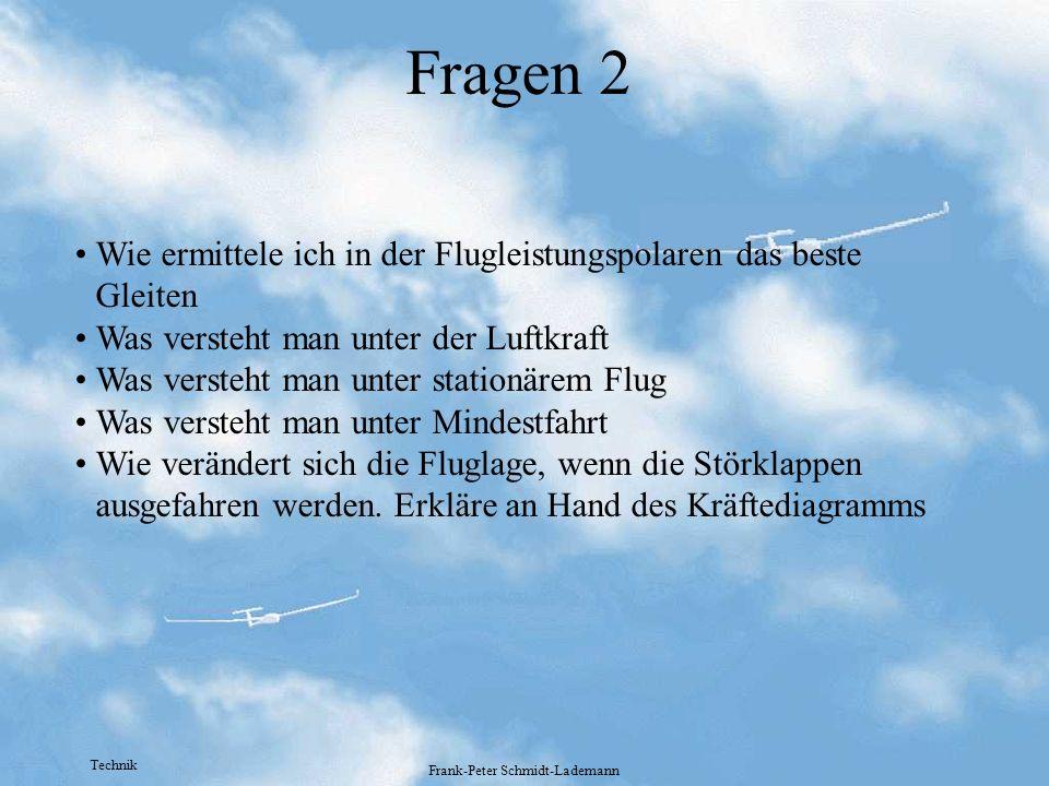 Technik Frank-Peter Schmidt-Lademann Fragen 2 Wie ermittele ich in der Flugleistungspolaren das beste Gleiten Was versteht man unter der Luftkraft Was