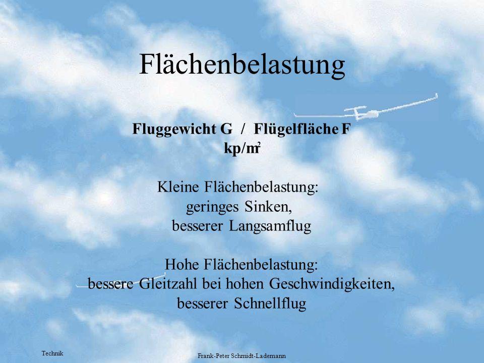 Technik Frank-Peter Schmidt-Lademann Flächenbelastung Fluggewicht G / Flügelfläche F kp/m Kleine Flächenbelastung: geringes Sinken, besserer Langsamfl