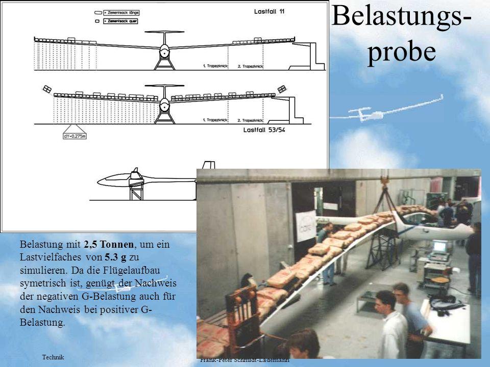 Technik Frank-Peter Schmidt-Lademann Belastungs- probe Belastung mit 2,5 Tonnen, um ein Lastvielfaches von 5.3 g zu simulieren. Da die Flügelaufbau sy