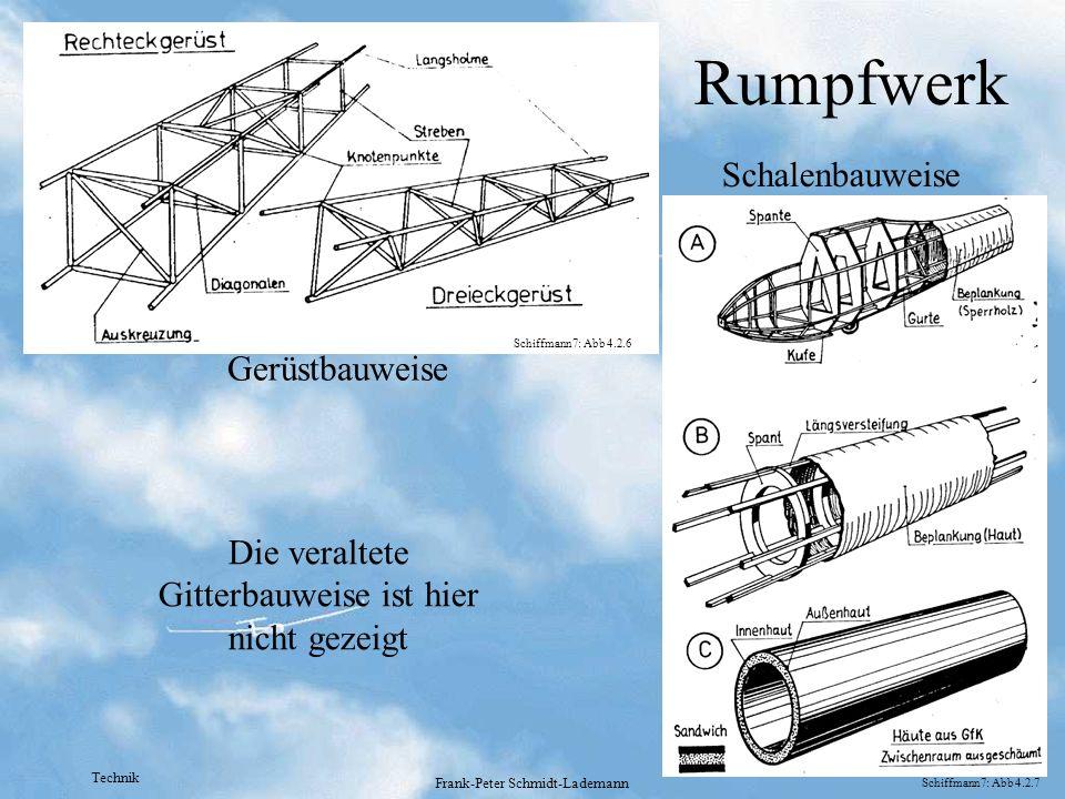 Technik Frank-Peter Schmidt-Lademann Rumpfwerk Gerüstbauweise Schalenbauweise Die veraltete Gitterbauweise ist hier nicht gezeigt Schiffmann7: Abb 4.2