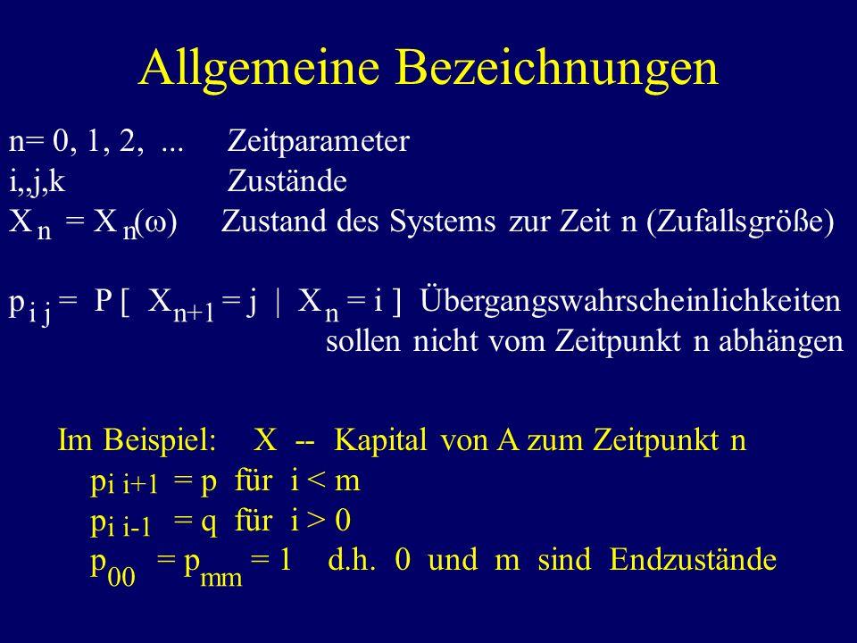 Allgemeine Bezeichnungen n= 0, 1, 2,... Zeitparameter i,,j,k Zustände X = X ( ) Zustand des Systems zur Zeit n (Zufallsgröße) p = P [ X = j | X = i ]