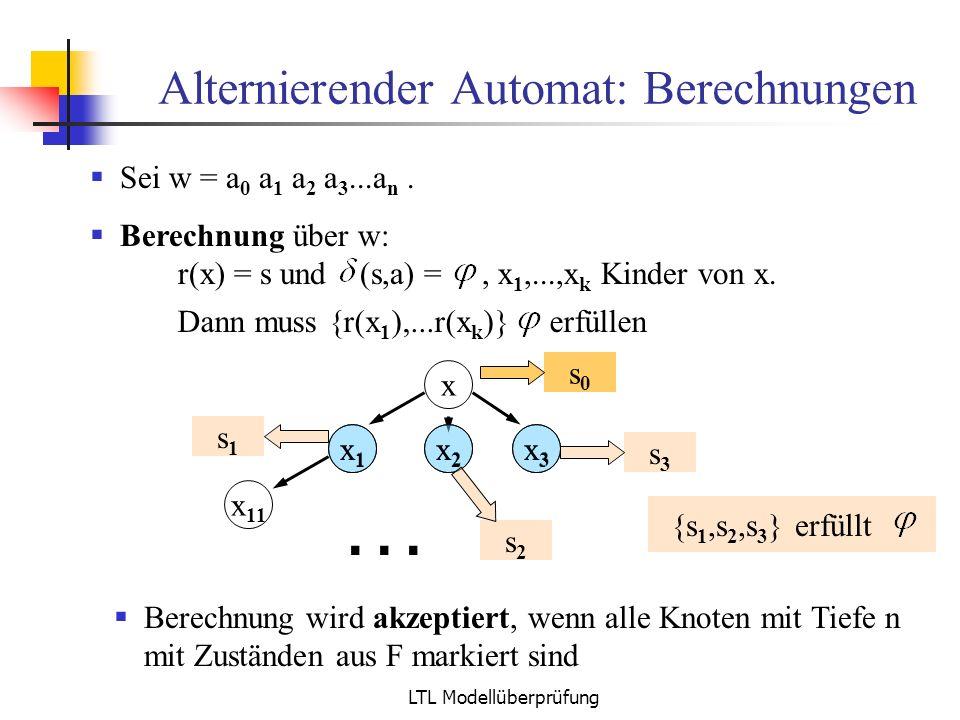 LTL Modellüberprüfung Alternierender Automat: Berechnungen Sei w = a 0 a 1 a 2 a 3...a n. Berechnung über w: s0s0 x1x1 x x2x2 x 11 x3x3... x1x1 x2x2 x