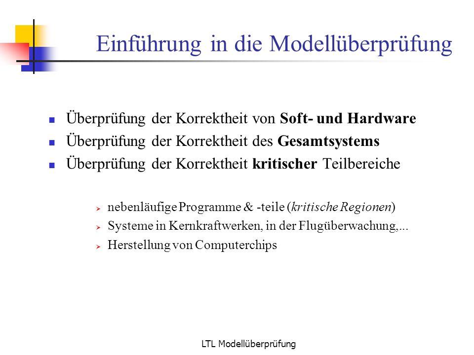 LTL Modellüberprüfung Büchi: Abschlusseigenschaften Analoge Definition für alternierende Büchi-Automaten Jeder alternierende Büchi-Automat kann in einen normalen Büchi – Automaten überführt werden Nichtleerheitsproblem ist entscheidbar Schnitt- und Vereinigungsautomat konstruierbar