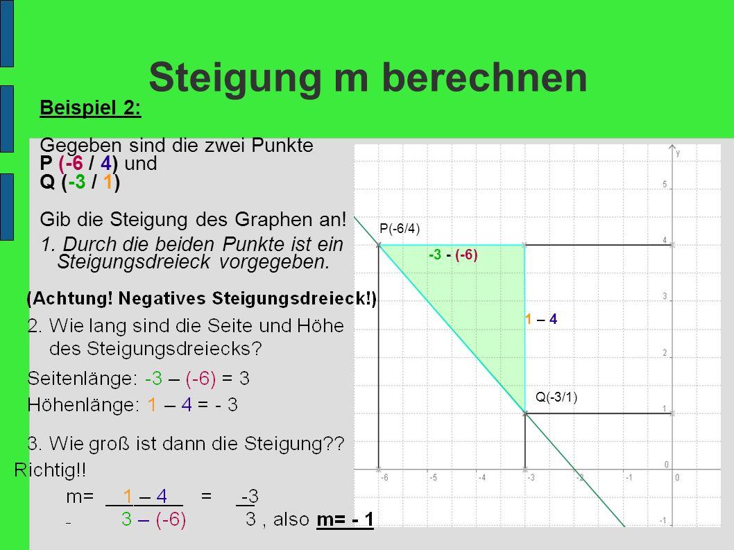 Steigung m berechnen Beispiel 2: Gegeben sind die zwei Punkte P (-6 / 4) und Q (-3 / 1) Gib die Steigung des Graphen an! P(-6/4) Q(-3/1) 1 – 4 -3 - (-