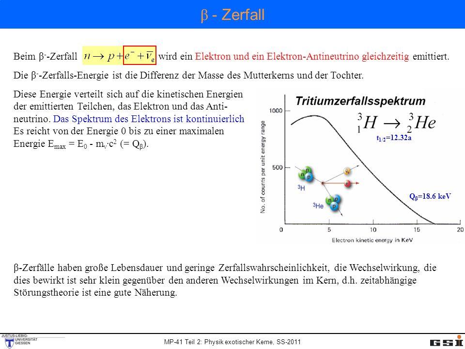 Beim β - -Zerfall wird ein Elektron und ein Elektron-Antineutrino gleichzeitig emittiert. Die β - -Zerfalls-Energie ist die Differenz der Masse des Mu