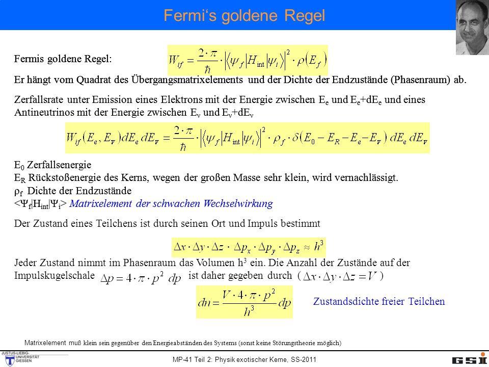 MP-41 Teil 2: Physik exotischer Kerne, SS-2011 Fermis goldene Regel: Er hängt vom Quadrat des Übergangsmatrixelements und der Dichte der Endzustände (