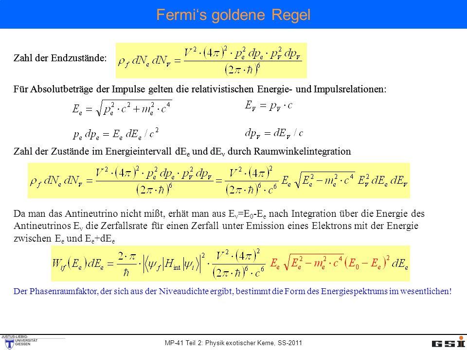 MP-41 Teil 2: Physik exotischer Kerne, SS-2011 Zahl der Endzustände: Für Absolutbeträge der Impulse gelten die relativistischen Energie- und Impulsrel