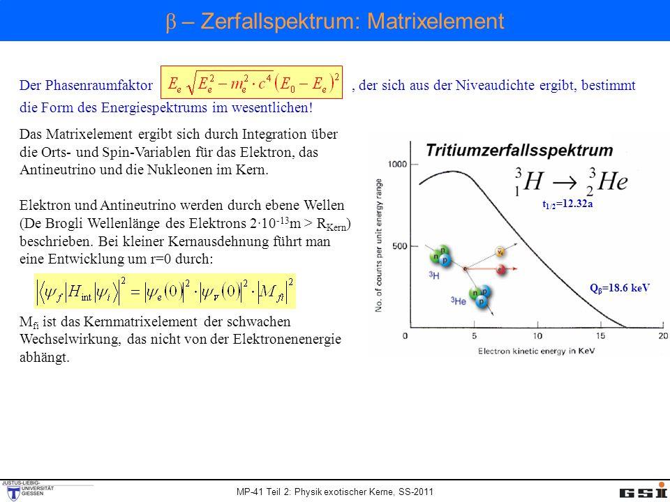 Der Phasenraumfaktor, der sich aus der Niveaudichte ergibt, bestimmt die Form des Energiespektrums im wesentlichen! Das Matrixelement ergibt sich durc