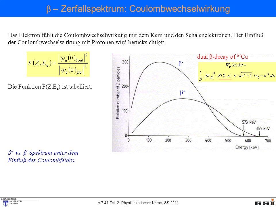 MP-41 Teil 2: Physik exotischer Kerne, SS-2011 Das Elektron fühlt die Coulombwechselwirkung mit dem Kern und den Schalenelektronen. Der Einfluß der Co
