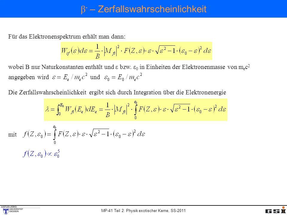 MP-41 Teil 2: Physik exotischer Kerne, SS-2011 Für das Elektronenspektrum erhält man dann: wobei B nur Naturkonstanten enthält und ε bzw. ε 0 in Einhe