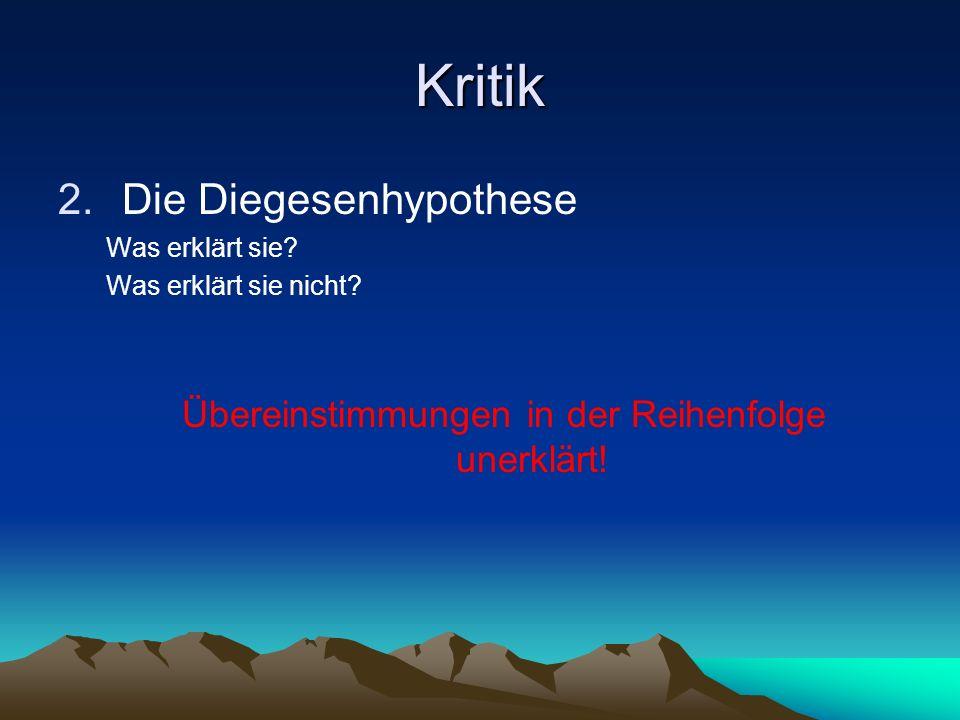 die Lösungsvorschläge 2. Die Diegesenhypothese (dihvghsi~) (F.D.E. Schleiermacher, 18.-19. Jh.) schriftlich! Einzelstücke MtMkLk