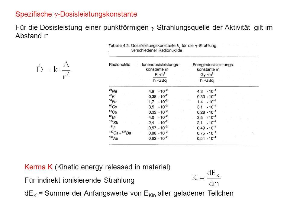 Spezifische -Dosisleistungskonstante Für die Dosisleistung einer punktförmigen -Strahlungsquelle der Aktivität gilt im Abstand r: Kerma K (Kinetic ene