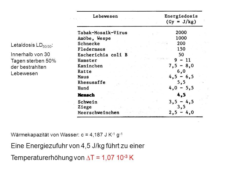 Letaldosis LD 50/30 : Innerhalb von 30 Tagen sterben 50% der bestrahlten Lebewesen Wärmekapazität von Wasser: c = 4,187 J K -1 g -1 Eine Energiezufuhr