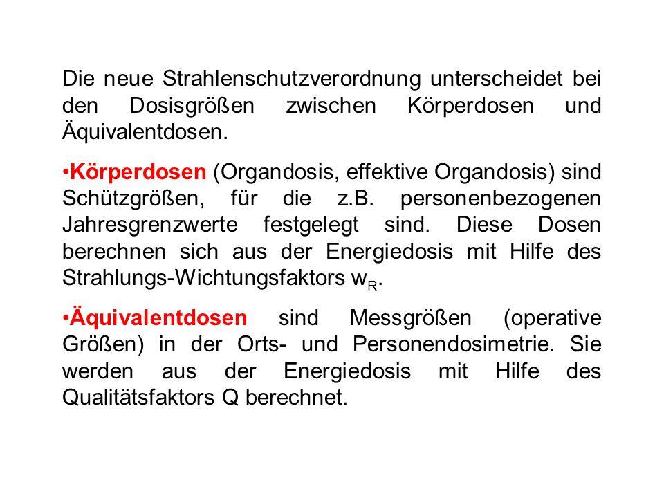 Die neue Strahlenschutzverordnung unterscheidet bei den Dosisgrößen zwischen Körperdosen und Äquivalentdosen. Körperdosen (Organdosis, effektive Organ