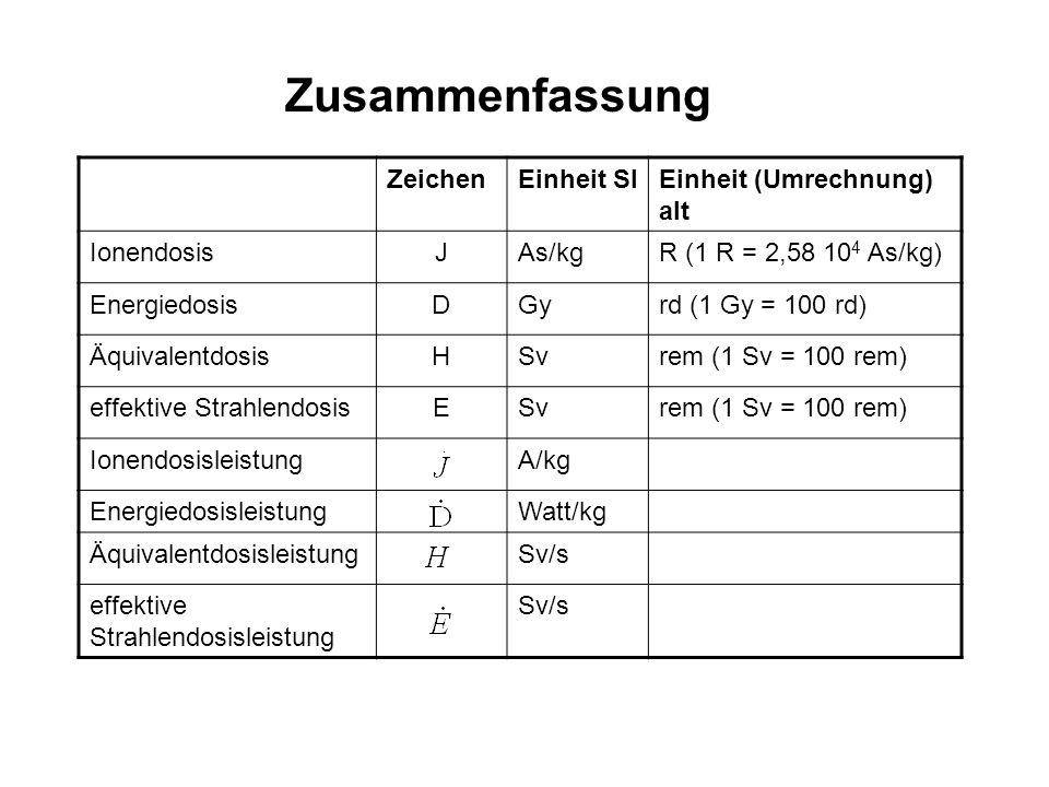 ZeichenEinheit SIEinheit (Umrechnung) alt IonendosisJAs/kgR (1 R = 2,58 10 4 As/kg) EnergiedosisDGyrd (1 Gy = 100 rd) ÄquivalentdosisHSvrem (1 Sv = 10
