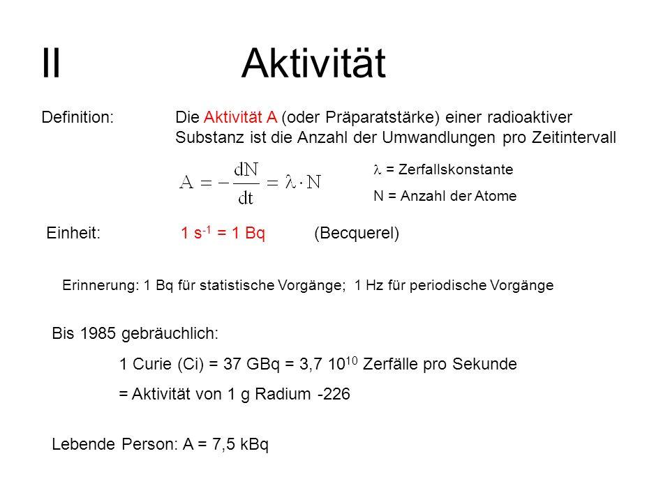 IIAktivität Definition: Die Aktivität A (oder Präparatstärke) einer radioaktiver Substanz ist die Anzahl der Umwandlungen pro Zeitintervall = Zerfalls