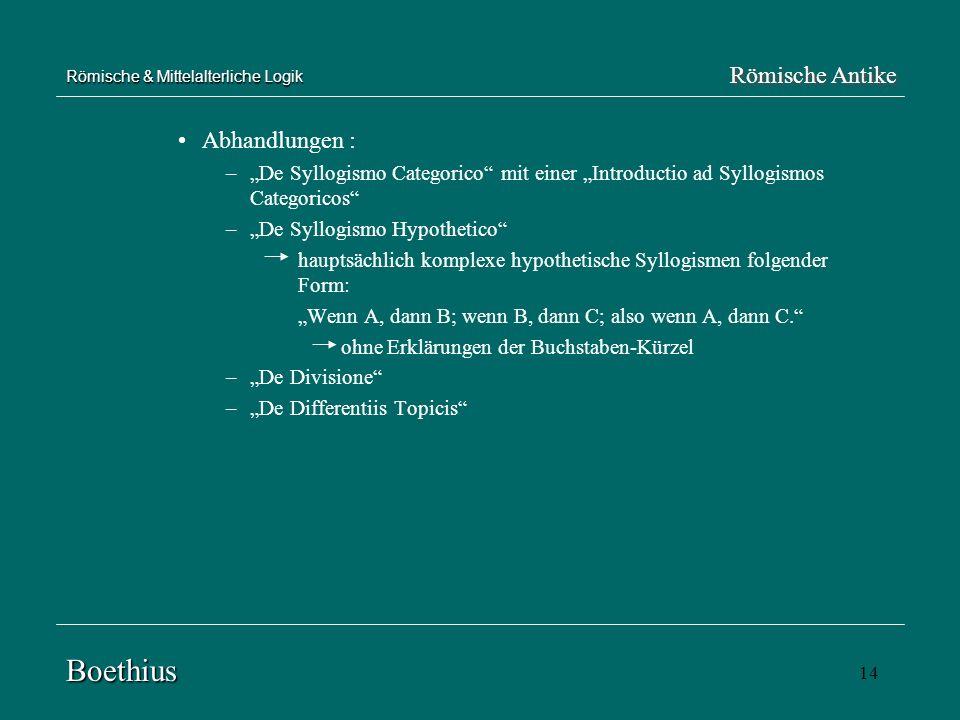14 Abhandlungen : –De Syllogismo Categorico mit einer Introductio ad Syllogismos Categoricos –De Syllogismo Hypothetico hauptsächlich komplexe hypothe