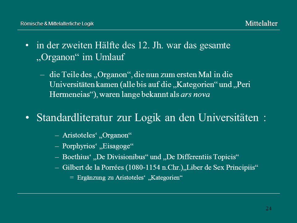 24 Römische & Mittelalterliche Logik in der zweiten Hälfte des 12. Jh. war das gesamte Organon im Umlauf –die Teile des Organon, die nun zum ersten Ma