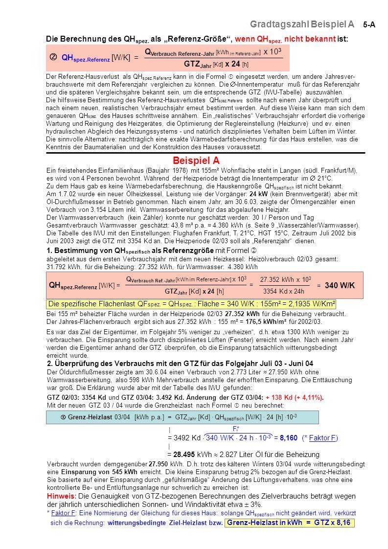 5-A Gradtagszahl Beispiel A QH spez.Referenz [W/K] = Q Verbrauch Referenz-Jahr [kWh im Referenz-Jahr ] x 10 3 GTZ Jahr [Kd] x 24 [h] Die Berechnung de