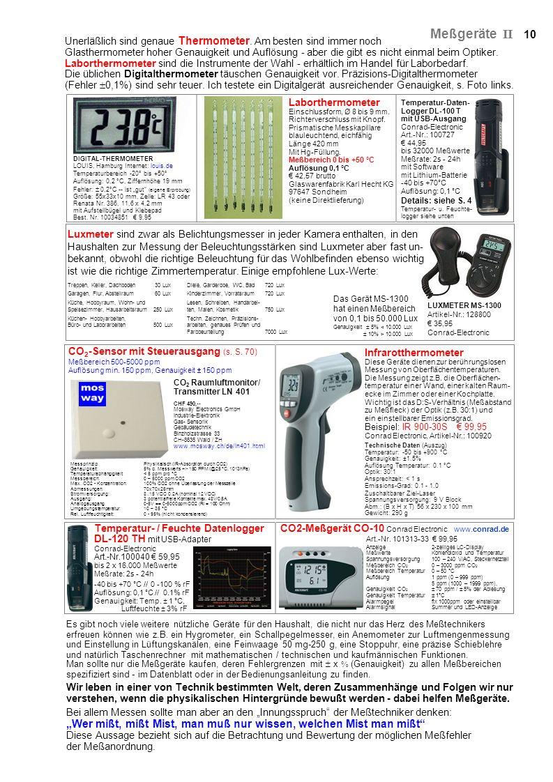 Es gibt noch viele weitere nützliche Geräte für den Haushalt, die nicht nur das Herz des Meßtechnikers erfreuen können wie z.B. ein Hygrometer, ein Sc