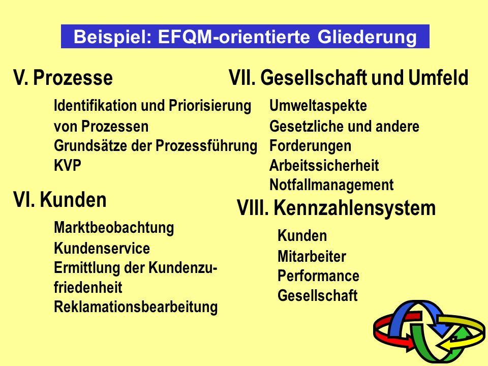 Beispiel: EFQM-orientierte Gliederung I. Führung Führungsleitbild Organisationsstruktur Verantwortung II. Politik und Strategie Vision, Mission, Werte