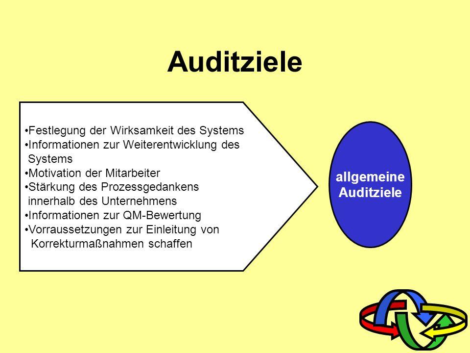 Auditarten Systemaudit Prozess-/ Verfahrensaudit Produktaudit Internes/externes Audit Performance Audit