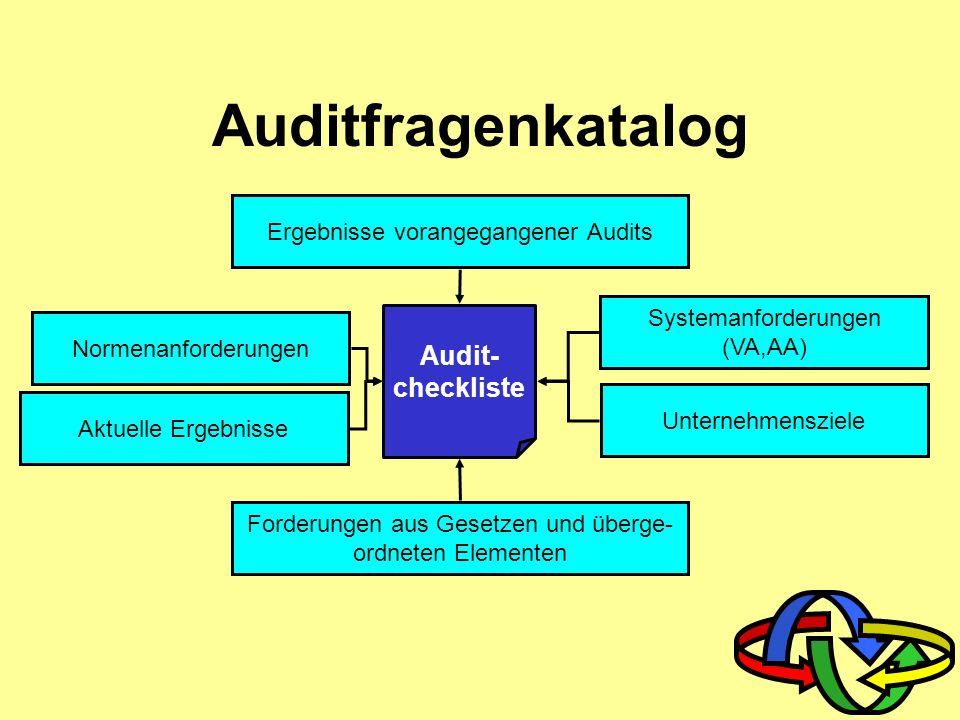 Qualifikation des Auditors Auditor Arbeiten im Team Produkt- kenntnis Schulbildung mind. Sekundarstufe II Erfahren im Umgang mit Normen, VA etc. Kennt