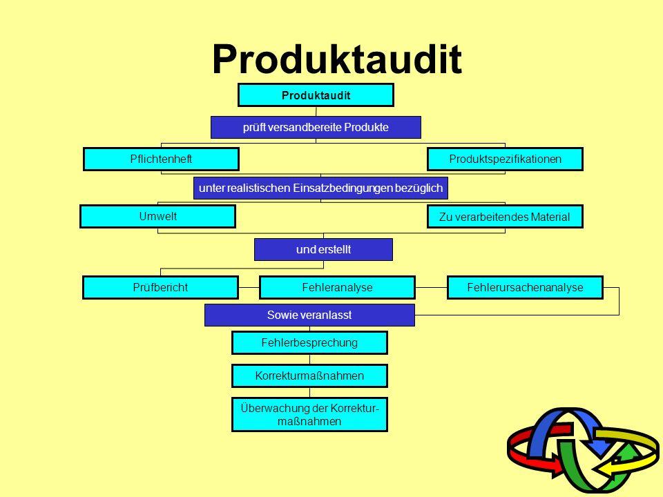 Prozess-/ Verfahrensaudit Prozessanalyse Überwachung der Korrekturmaßnahmen Anforderungen von Kunden, Gesetzen, Interessenspar- teien und Ziele Einfüh