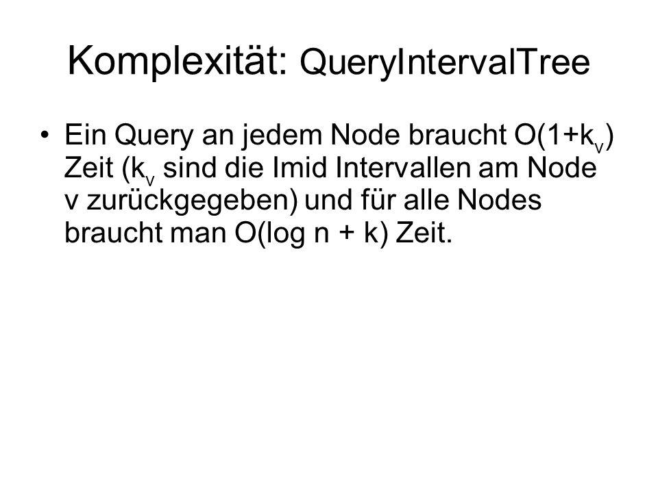 Komplexität: QueryIntervalTree Ein Query an jedem Node braucht O(1+k v ) Zeit (k v sind die Imid Intervallen am Node ν zurückgegeben) und für alle Nodes braucht man O(log n + k) Zeit.