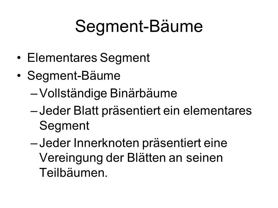 Segment-Bäume Elementares Segment Segment-Bäume –Vollständige Binärbäume –Jeder Blatt präsentiert ein elementares Segment –Jeder Innerknoten präsentiert eine Vereingung der Blätten an seinen Teilbäumen.
