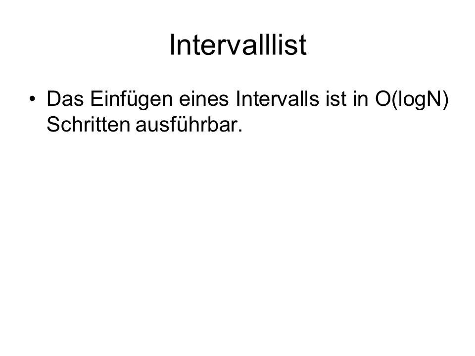 Intervalllist Das Einfügen eines Intervalls ist in O(logN) Schritten ausführbar.