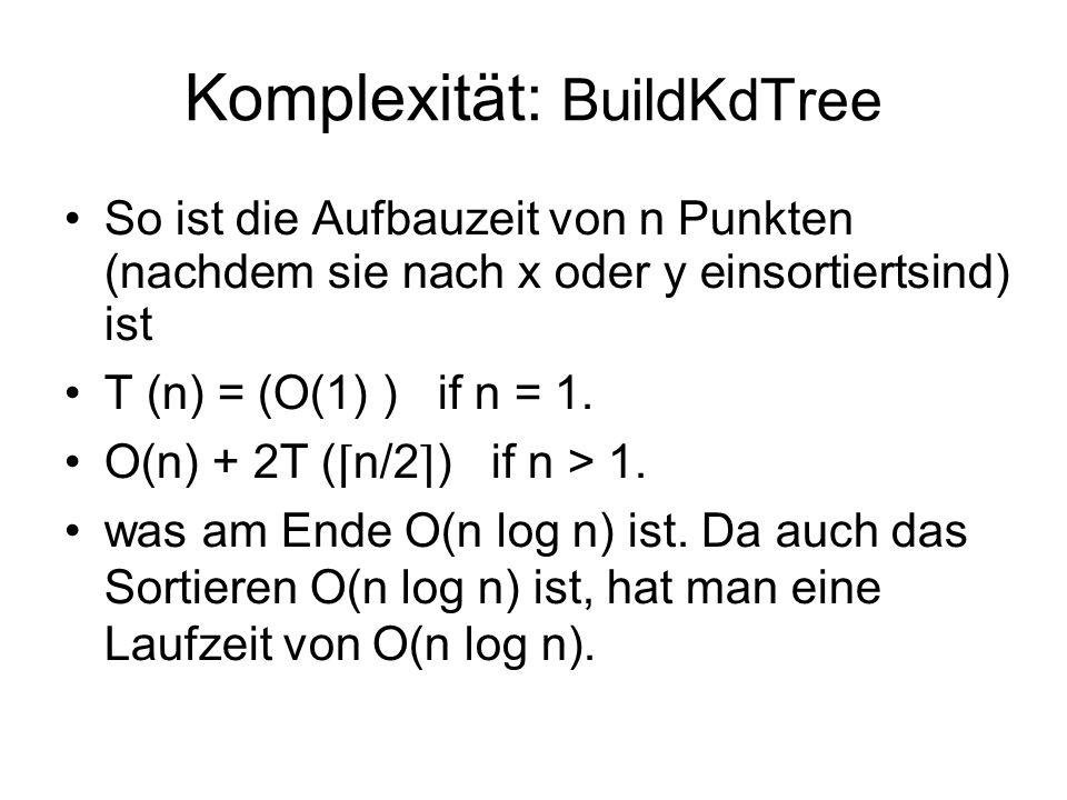 Komplexität: BuildKdTree So ist die Aufbauzeit von n Punkten (nachdem sie nach x oder y einsortiertsind) ist T (n) = (O(1) )if n = 1. O(n) + 2T ( n/2