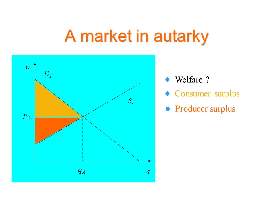 A market in autarky Welfare ? Consumer surplus Producer surplus SISI p DIDI q qAqA pApA