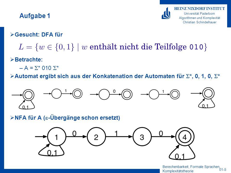 Berechenbarkeit, Formale Sprachen, Komplexitätstheorie 01-5 HEINZ NIXDORF INSTITUT Universität Paderborn Algorithmen und Komplexität Christian Schinde