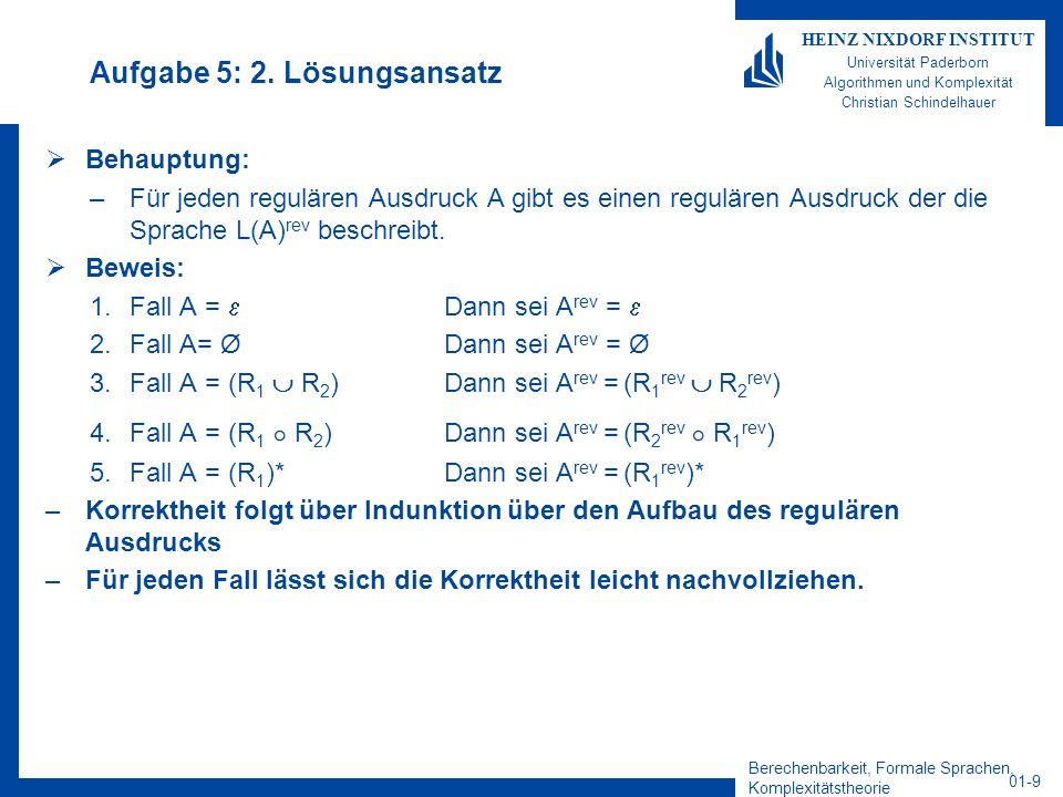 Berechenbarkeit, Formale Sprachen, Komplexitätstheorie 01-9 HEINZ NIXDORF INSTITUT Universität Paderborn Algorithmen und Komplexität Christian Schinde