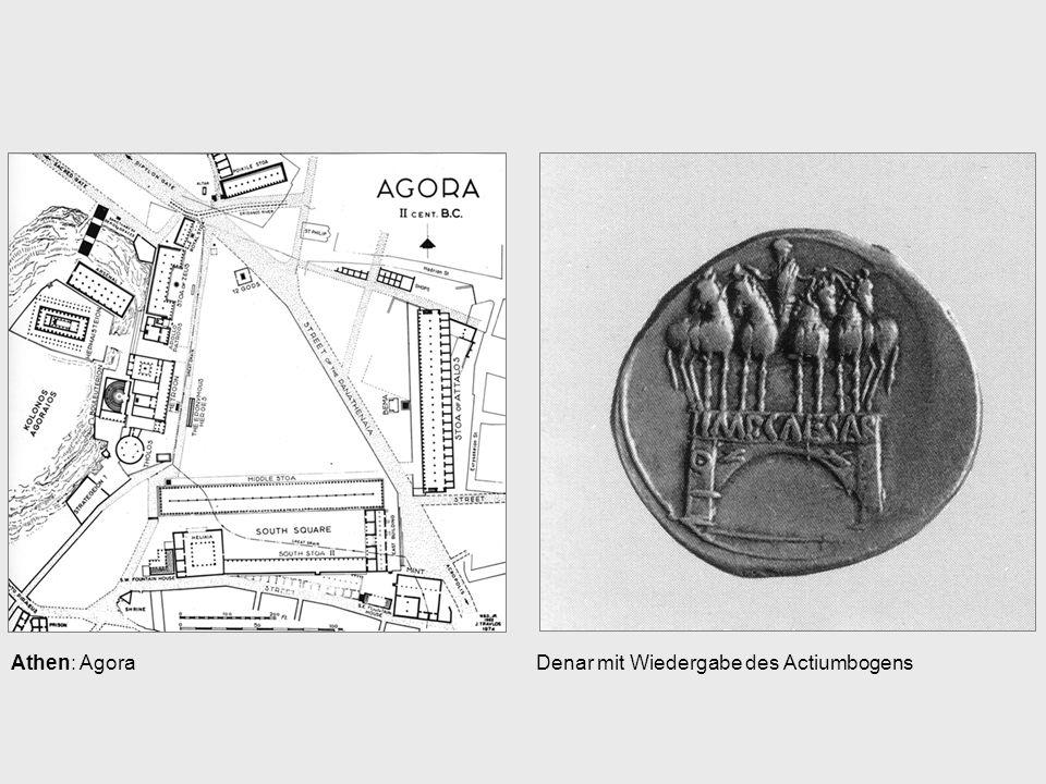Athen: AgoraDenar mit Wiedergabe des Actiumbogens