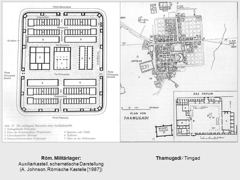 Thamugadi / TimgadRöm. Militärlager: Auxiliarkastell, schematische Darstellung (A. Johnson, Römische Kastelle [1987])
