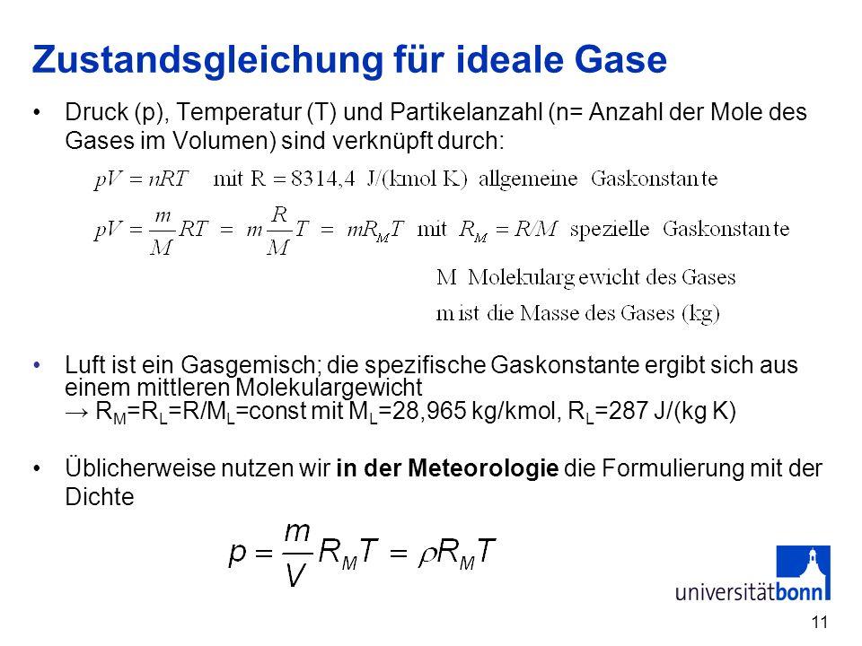 11 Zustandsgleichung für ideale Gase Druck (p), Temperatur (T) und Partikelanzahl (n= Anzahl der Mole des Gases im Volumen) sind verknüpft durch: Luft