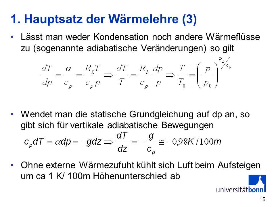 15 1. Hauptsatz der Wärmelehre (3) Lässt man weder Kondensation noch andere Wärmeflüsse zu (sogenannte adiabatische Veränderungen) so gilt Wendet man
