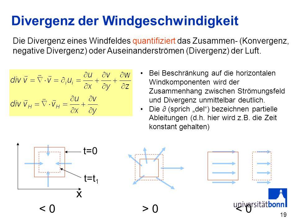 19 Divergenz der Windgeschwindigkeit x 0 < 0 t=0 t=t 1 Bei Beschränkung auf die horizontalen Windkomponenten wird der Zusammenhang zwischen Strömungsf