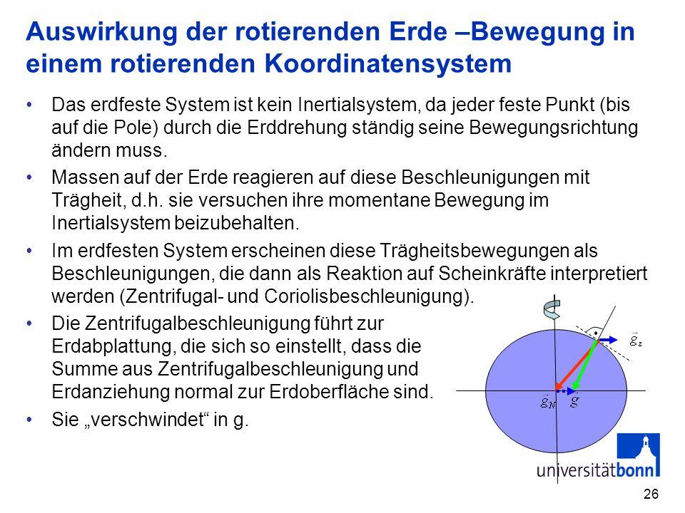 26 Auswirkung der rotierenden Erde –Bewegung in einem rotierenden Koordinatensystem Das erdfeste System ist kein Inertialsystem, da jeder feste Punkt