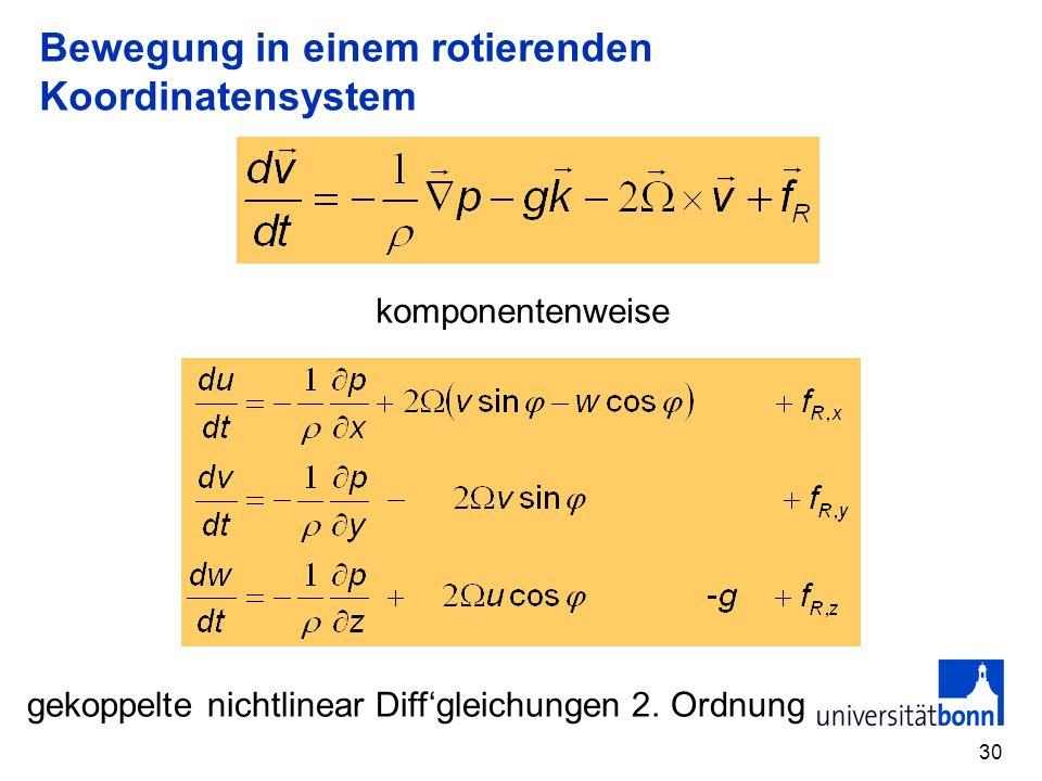 30 Bewegung in einem rotierenden Koordinatensystem komponentenweise gekoppelte nichtlinear Diffgleichungen 2. Ordnung