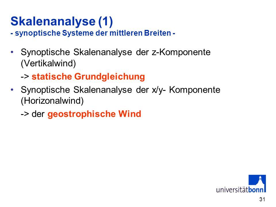 31 Skalenanalyse (1) - synoptische Systeme der mittleren Breiten - Synoptische Skalenanalyse der z-Komponente (Vertikalwind) -> statische Grundgleichu