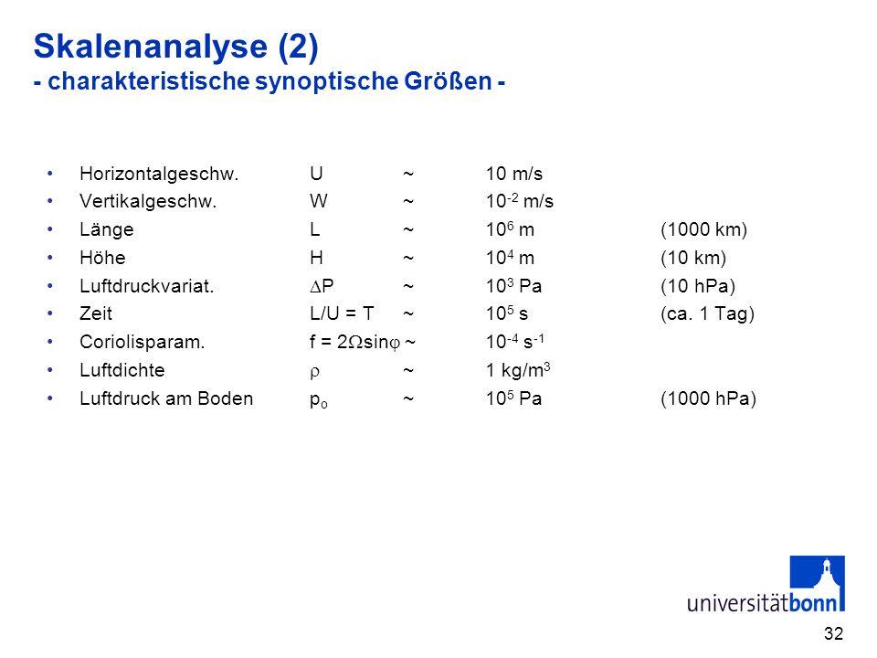 32 Skalenanalyse (2) - charakteristische synoptische Größen - Horizontalgeschw.U ~ 10 m/s Vertikalgeschw.W ~10 -2 m/s LängeL ~10 6 m(1000 km) HöheH ~1