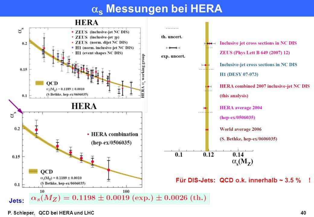 P.Schleper, QCD bei HERA und LHC 40 s Messungen bei HERA Jets: Für DIS-Jets: QCD o.k.