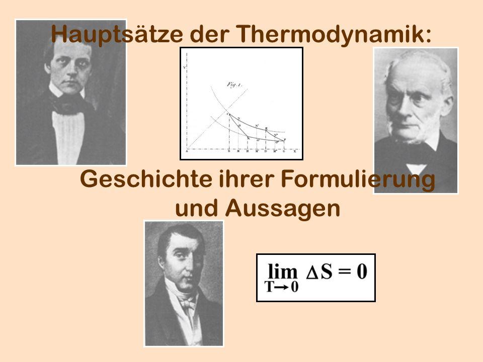 Hauptsätze der Thermodynamik: Geschichte ihrer Formulierung und Aussagen